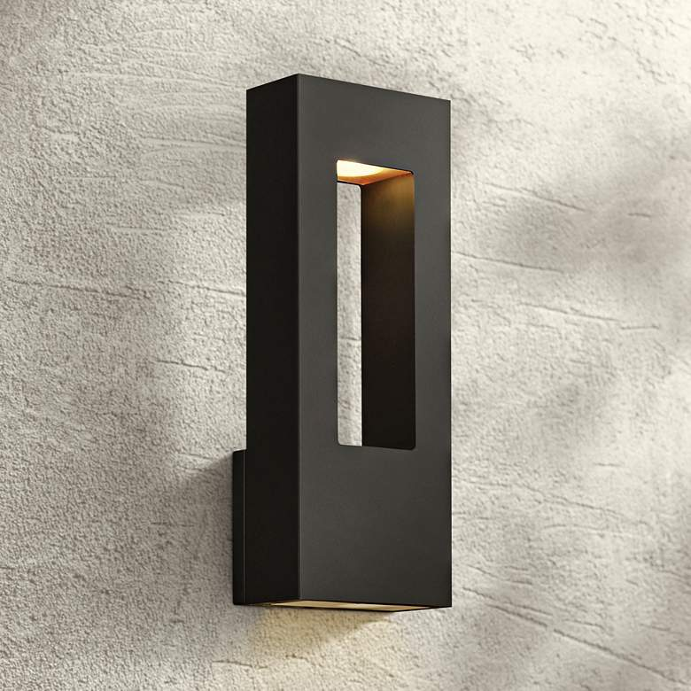 "Atlantis 16""H Black and Frosted Glass LED Outdoor"