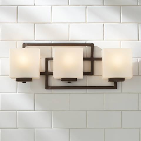 "Lighting on the Square Bronze 21"" Wide Bath Wall Light"