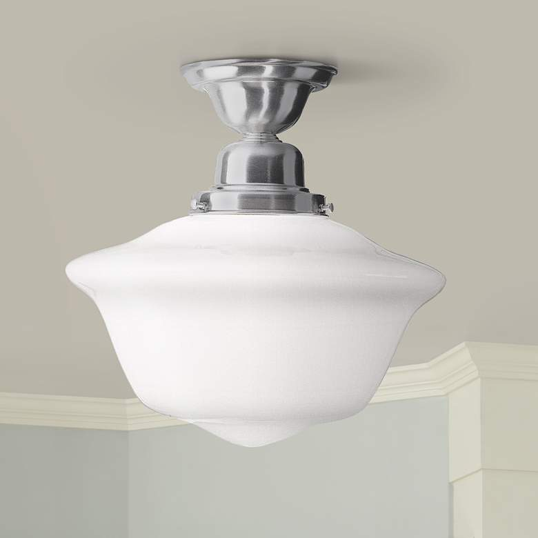 Hudson Valley Edison Satin Nickel Schoolhouse Ceiling Light