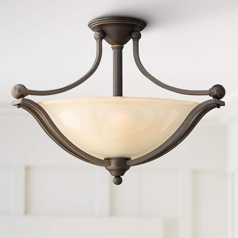 "Bolla 23 1/4""W Bronze Ceiling Light w/ Amber"