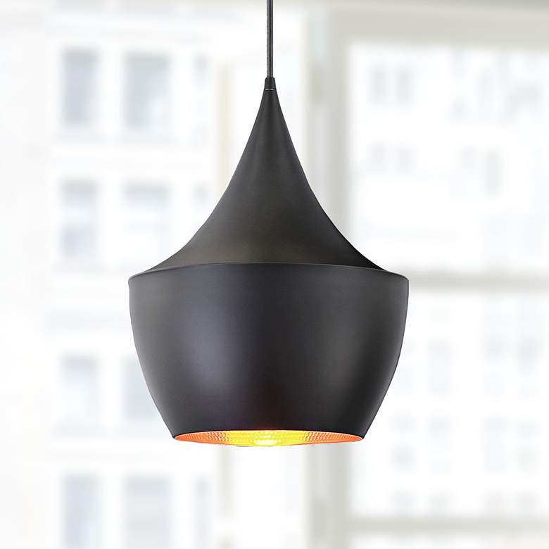 "Piquito 9 1/2"" Wide Black Finish Modern Mini Pendant Light"
