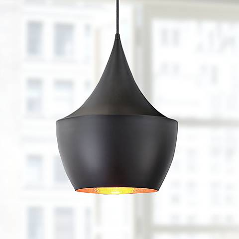 "Piquito 9 1/2"" Wide Black Mini Pendant Light"