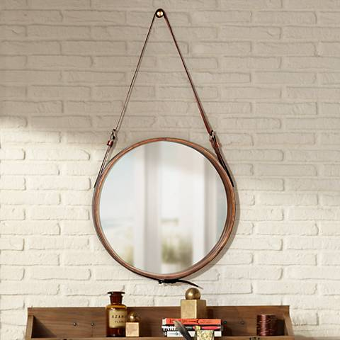 Jamie Young Leather Strap 16 Round Wall Mirror