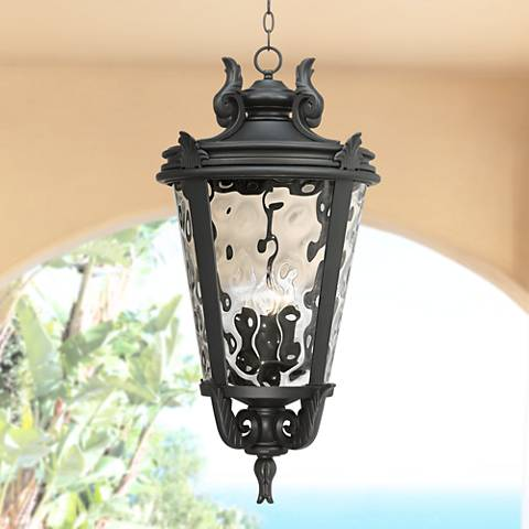 "Casa Marseille™ 30"" High Black Outdoor Hanging Light"