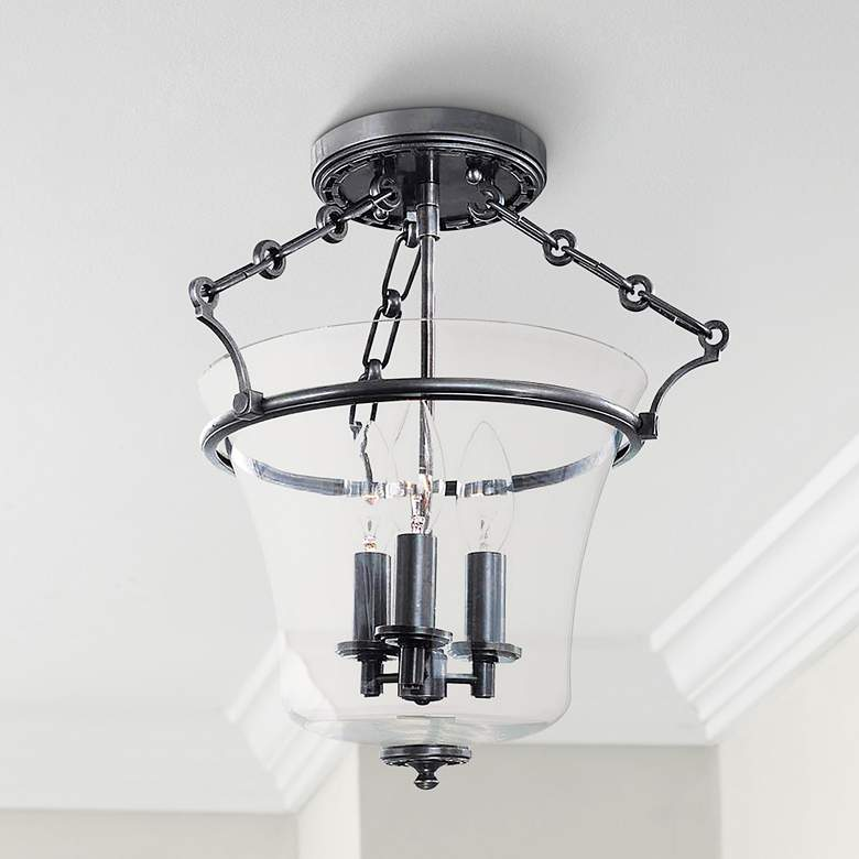 Hudson Valley Eaton Old Bronze Semi-Flush Ceiling Light