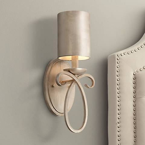 "Cassidy Golden Silver Metal Shade 15 1/2"" High Wall Sconce"