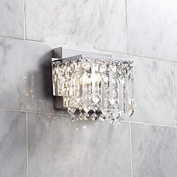 "Possini Euro Hanging Crystal 7 3/4"" Wide Chrome Wall Sconce"