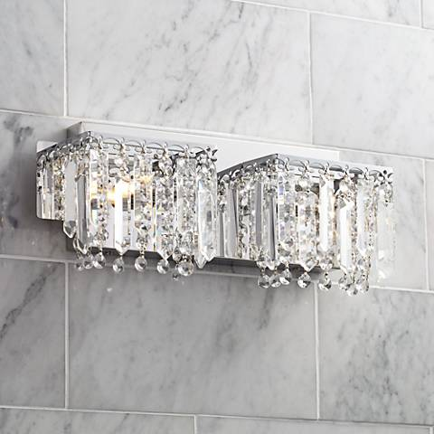 "Possini Euro Hanging Crystal 16 1/2"" Wide Chrome Bath Light"