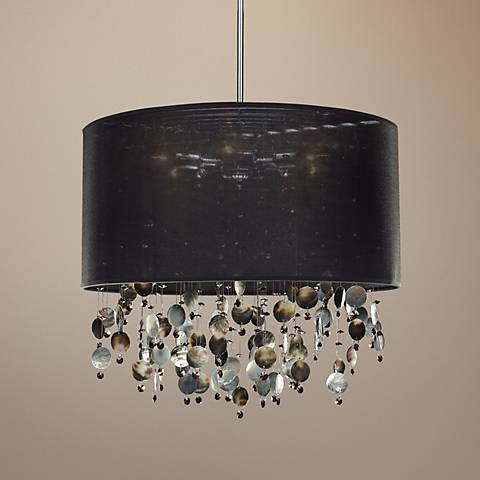 "Around Town Pearl and Black 24"" Wide Pendant Chandelier"