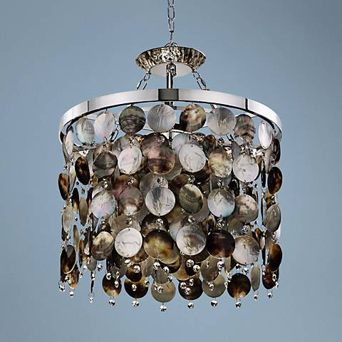 "Black Magic Crystal and Pearl 19"" Wide Pendant Chandelier"