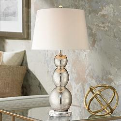 Mercury Glass Triple Gourd Table Lamp