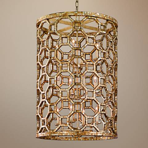 "Corbett Regatta 37 1/4""H Capiz Shell Mosaic Pendant Light"