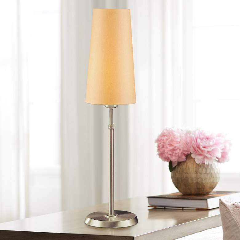 Holtkoetter Satin Nickel Lamp with Slim Kupfer Shade