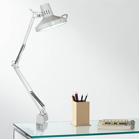 white metal 2 light clamp on desk lamp u7311 lamps plus. Black Bedroom Furniture Sets. Home Design Ideas