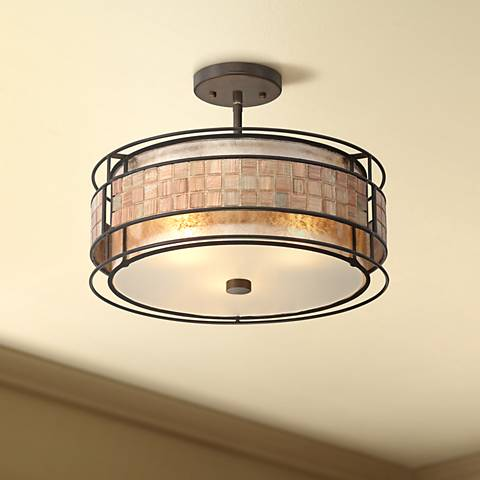 "Laguna 16""W Renaissance Copper Ceiling Light w/ Glass Shade"