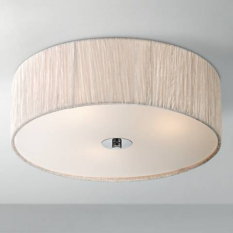 "Possini Euro Sheer 16"" Wide Ivory-White Fabric Ceiling Light"