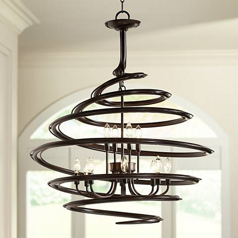 "Franklin Iron Works Bronze 30 3/4"" Wide Swirl Chandelier"
