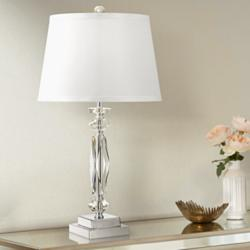 "Cut Crystal Column 23"" High Accent Table Lamp"