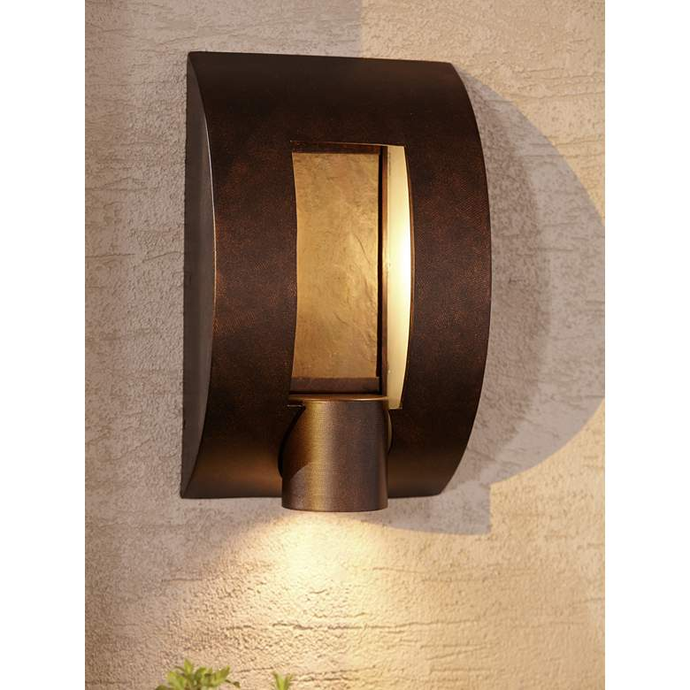 "Framed Slate 12"" High Bronze 3-Light Outdoor Wall Light"