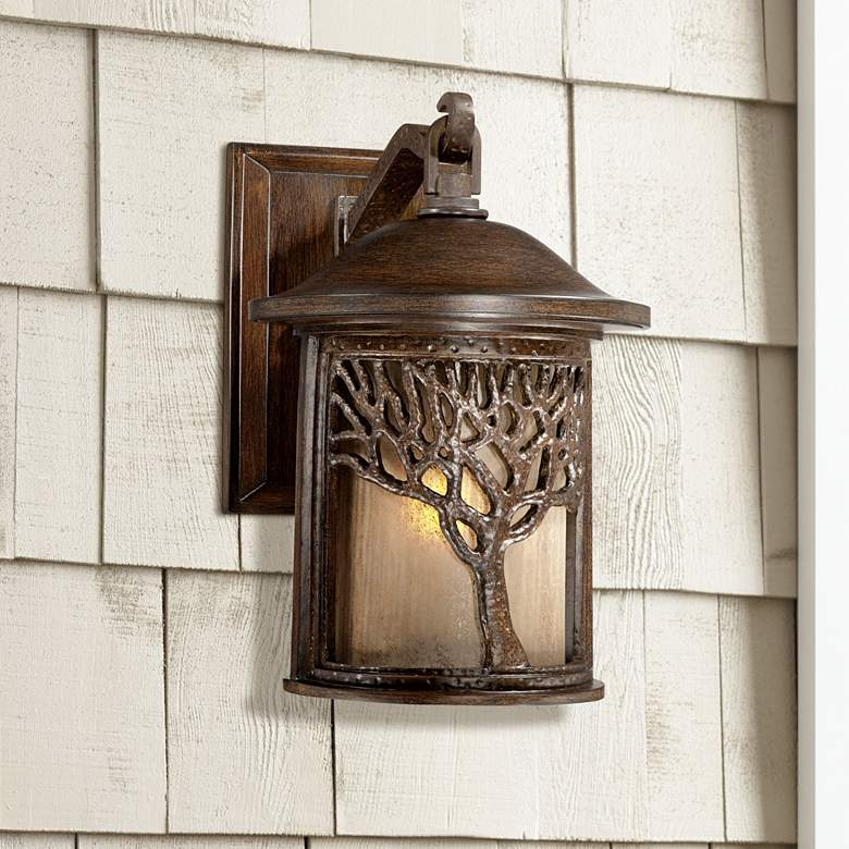 "Bronze Mission Style Tree 12 1/4"" High Outdoor Wall Light"