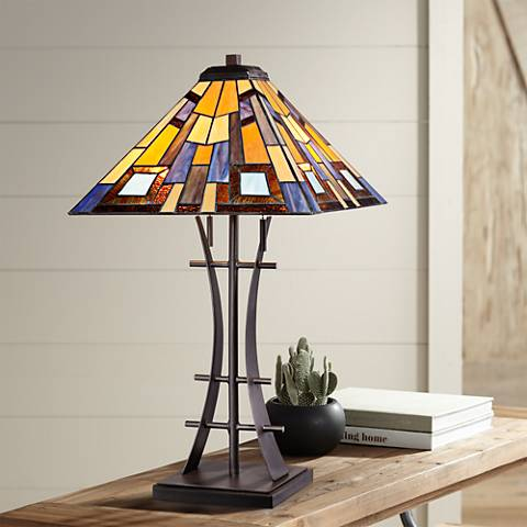 Jewel Tone Tiffany Style Art Glass Iron Base Table Lamp