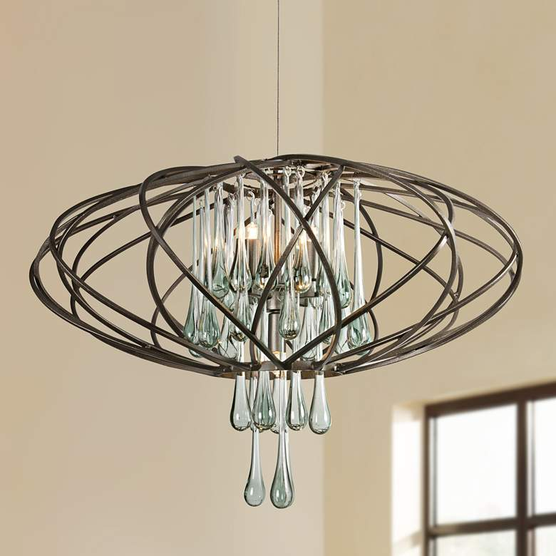 "Varaluz 24"" Wide Area 51 Recycled Glass LED Pendant Light"