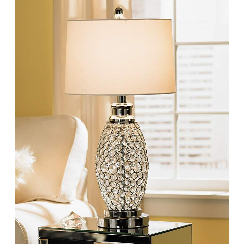 Possini Euro Design Beaded Table Lamp with White Shade
