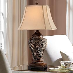 Barnes and Ivy Leafwork Bronze Vase Table Lamp