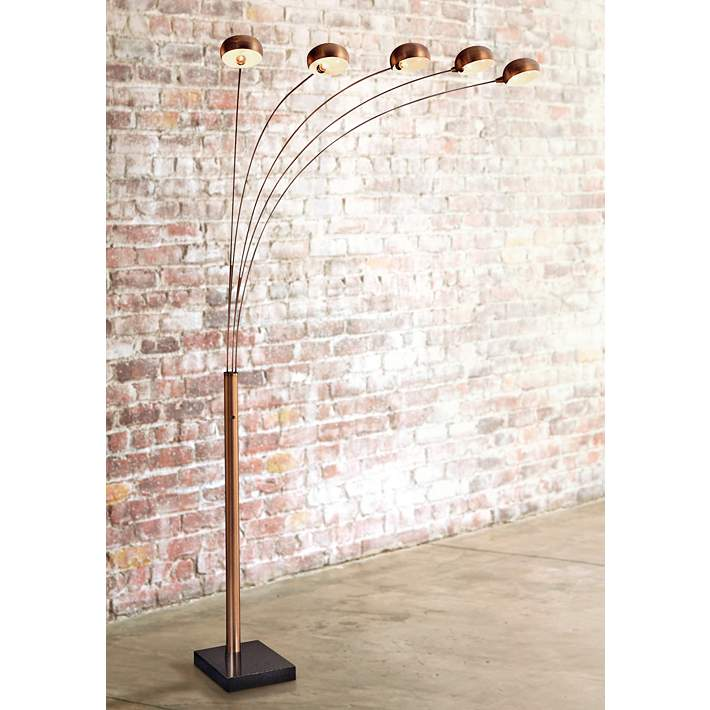 5 Light Copper Bronze Arc Floor Lamp