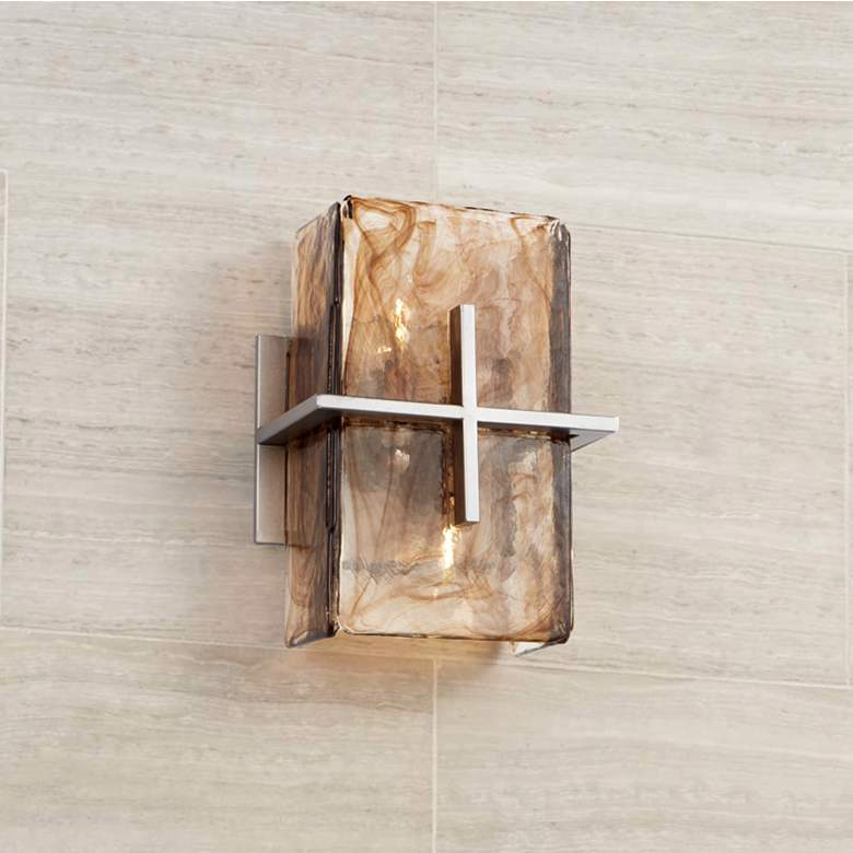 "Carlyn Bronze Gold Art Glass 8"" Wide 2-Light Wall Sconce"