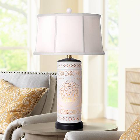 Pierced Bone China with Drum Shade Night Light Table Lamp