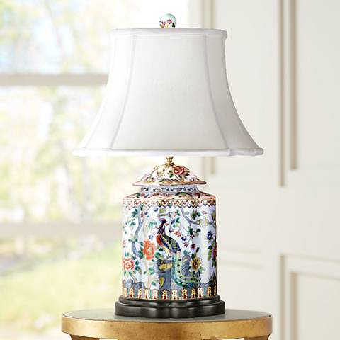 Famille Rose Scalloped Tea Jar Porcelain Table Lamp