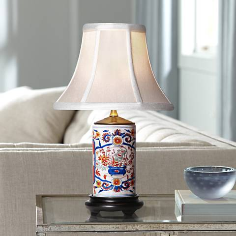 "Imari 15"" High Mini Vase Porcelain Accent Table Lamp"