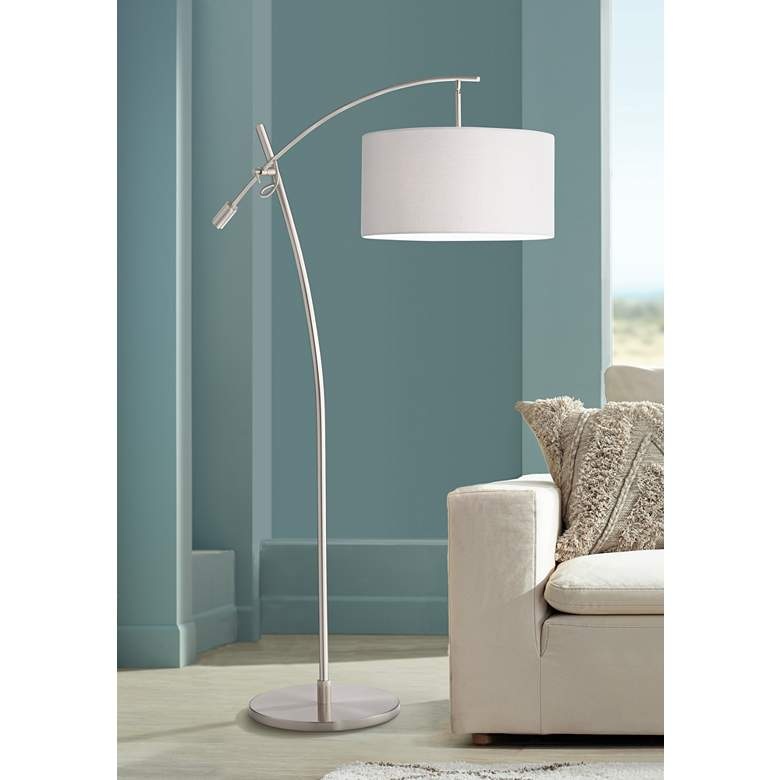 Possini Euro Brushed Nickel Boom Arched Floor Lamp