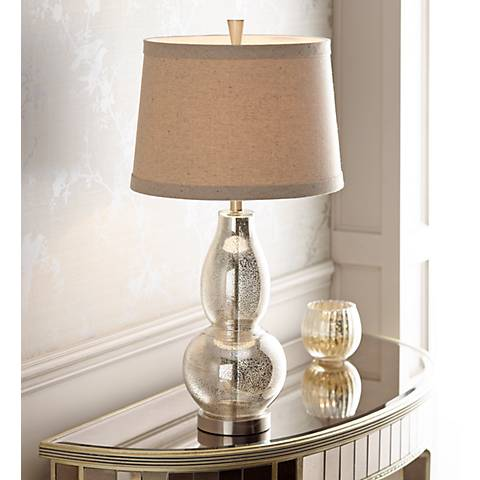 "Double Gourd 30 1/2"" High Mercury Glass Table Lamp"