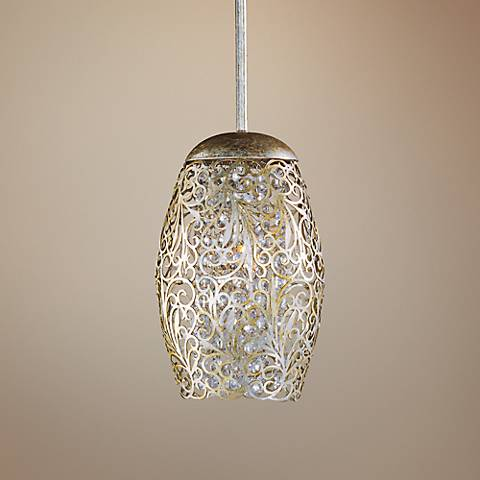 "Maxim Arabesque 6 1/2"" Wide Golden Silver Mini Pendant"