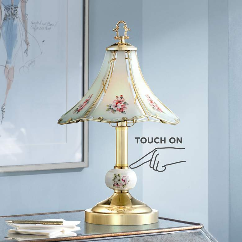 "Flower 16"" High Polished Brass Touch On-Off Table Lamp"