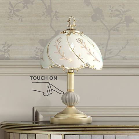 "Polished Brass 15"" High Touch On-Off Accent Table Lamp"