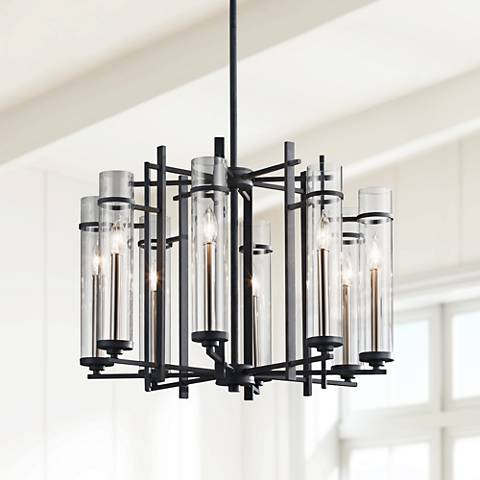 "Feiss Ethan 26""W Forged Iron 1-Tier 8-Light Chandelier"