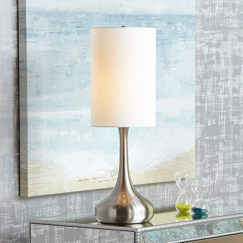 Brushed Nickel Droplet Table Lamp with Cylinder Shade