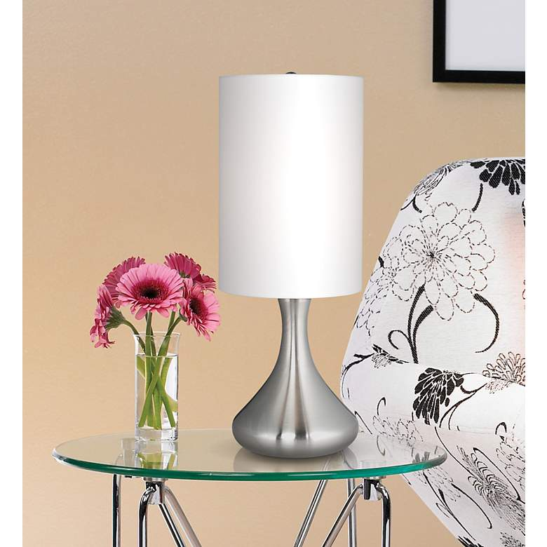 "Brushed Nickel 17"" High Mini Droplet Accent Table"