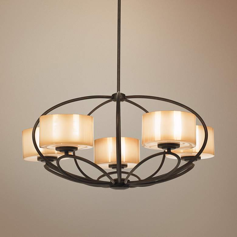 "Possini Euro Petals 32"" Wide Scavo Bronze Chandelier"