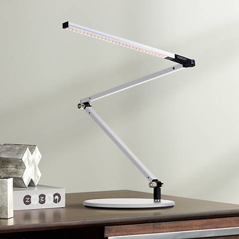 Gen 3 Z-Bar Mini Warm LED Silver Desk Lamp with Touch Dimmer