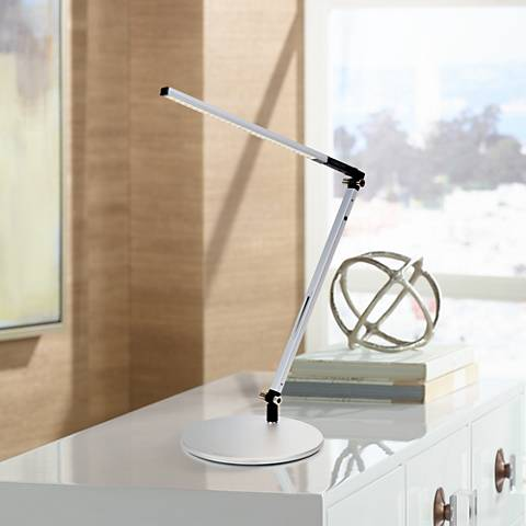 Gen 3 Silver Solo Z-Bar Daylight LED Touch Dimmer Desk Lamp