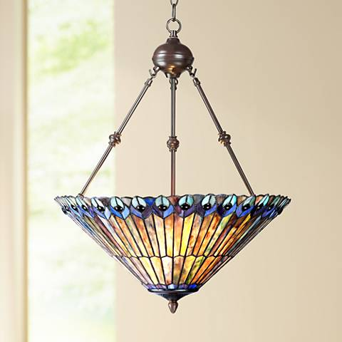 "Peacock Glass 3-Light 20"" Wide Tiffany Style Pendant Light"