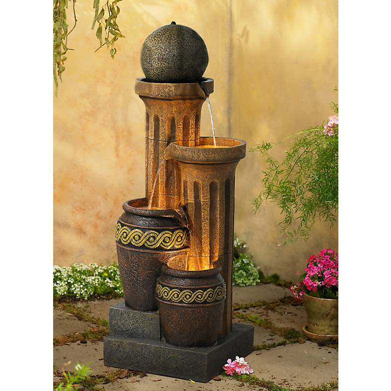 "Sphere Jugs and Column 50"" High Fountain with LED Light"