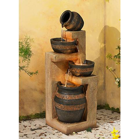 "Stoneware Bowl and Jar Indoor-Outdoor 46"" H. LED Fountain"