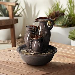"Triple Jug Indoor-Outdoor 8 1/4"" High Tabletop Fountain"