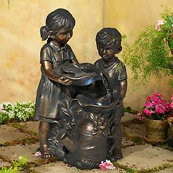 "Boy and Girl Indoor-Outdoor Bronze 23"" High Fountain"