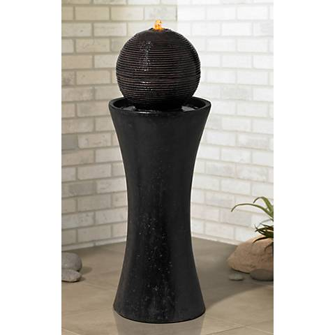 "Dark Sphere Pillar 35 1/2"" High Floor Fountain"